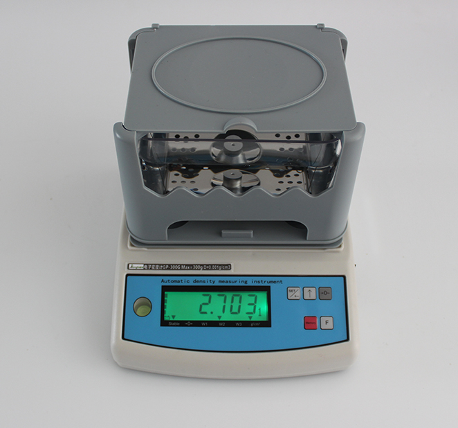 Measurement of specific gravity density of cable material by solid density meter